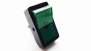Rocker Switch rectangular illuminated  On/Off  car dash panel light GREEN 12v