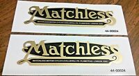 Matchless (Colliers) black w/gold edge rear fender gas tank vinyl transfer, pair