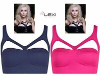 Women Ladies Cut Out Cup Padded Sexy Party Bralet Boobtube Bra Vest crop Top UK