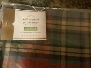 "Pottery Barn WALKER PIECED PLAID PILLOW COVER-20"" SQUARE-NWOT"