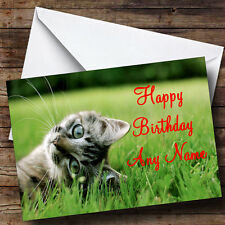 Playful Kitten Personalised Birthday Greetings Card