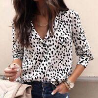 Ladies Charlotte V Neck Loose Shirt Blouse Women Animal Print 8 10 12 16 18 20