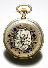 Victorian Ladies Silver Enamel Pendant Watch With Black And Silver Dial Ca1890S