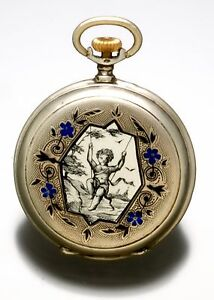 WOMENS VICTORIAN SILVER ENAMEL POCKET WATCH WITH BLACK AND SILVER DIAL CA1890S