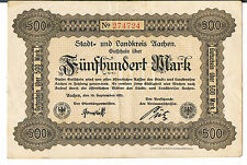 GERMANY NOTGELD Aachen Stadt&Landkreis 500 MARKS 15.09.1922 EF red serial no