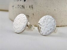 Sterling Silver 925 Sparkly Hammered Round Disc Ear Stud Earrings 10mm Handmade