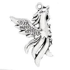 8 Phoenix Bird Flames Fly Antique Silver Charms Pendants 24mm x 34mm (827)