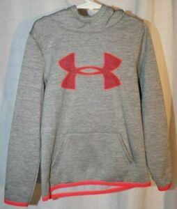 Under Armour Ysm / jp / ch kids gray hoodie w neon orange lining logo