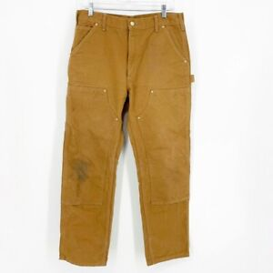 Vintage Carhartt Loose Original Fit Double Knee Canvas MADE IN USA 34x32 Pants