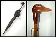 Um 1955/65: Damen Regenschirm mit Entenkopf Griff und gestickter Entenborde