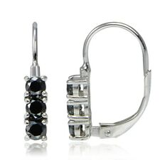 Sterling Silver 0.75ct TDW Black Diamond 3-Stone Leverback Earrings