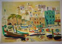 Tanguy LE ROY (1937) GRANDE LITHO ORIGINALE SIGNEE MAISON EN BORD DE MER 1976