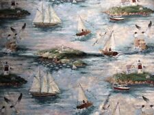 "1.5 Yds X 39"" Wide Sailboat Sea Gull Harbor Lighthouse Ocean Upholstery Fabric"