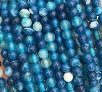 Blau 4mm Achat Perlen Poliert Natur Streifen Edelsteine Achatstein BEST G848