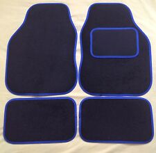 CAR FLOOR MATS FOR MINI COOPER CLUBMAN ONE FIRST S - BLACK WITH BLUE TRIM