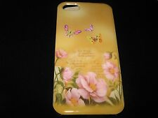 Butterflies 2 Hard Cover Case for iPhone 5 Purple Pink Flowers Beige Background