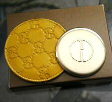 New Authenitc GUCCI Yellow Compact Mirror Guccissima Leather Pouch&Box 263560