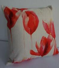 Watercolour Painting Red Pink Tulips Linen Blend Cushion Cover 45cm