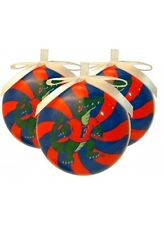 "FLORIDA GATORS PEPPERMINT ORNAMENT 3"" SET OF 3"