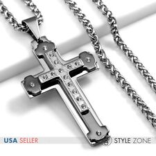 Men's Stainless Steel Heavy Black Large Cross Pendant w/ Braid Chain Necklace 6C