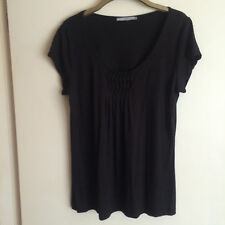 LADIES TU BLACK TOP WITH SCOOP NECK AND PIN TUCKS TO FRONT CENTRE