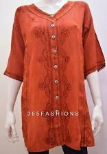 PLUS SIZE RENAISSANCE BOHO EMBROIDERY V NECK TUNIC TOP BROWN 22 24 26 28 30