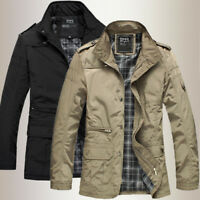 Mens Jacket Fashion Casual Coat Overcoat Outwear Military Black New
