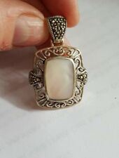 Pearl Pendant Signed Cfj Vintage Sterling Silver Mother Of