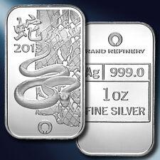 2013 Lunar Snake 1 Troy oz. .999 Fine Silver Bar Ingot Snake Year BIRTHDAY Gift!