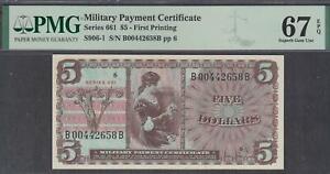 US MPC 5 Dollars Note Series 661 Super Gem UNC PMG 67 EPQ