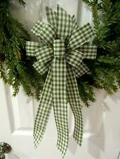 GINGHAM CHECK CHRISTMAS BOW WIRED RIBBON HANDMADE WREATH BOW GREEN