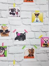 Fine Decor Bow Wow  Selfie Dogs Picture Frame Brick Effect Wallpaper White Grey
