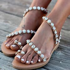 Womens Boho Pearl Sandals Summer Holiday Beach Rhinestone Flat Shoes Size 4 5 6
