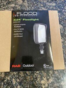 RAB 65W 5000K LED Flood Light Bronze X34-65L/120 - Replaces 250W MH