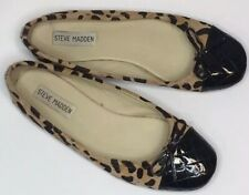 Steve Madden Calf Hair Leopard Print Flats With Patent Leather Toes EUC Size 7M