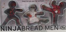 New Ninja Bread Men Cookie Cutters Fred & Friends Gingerbread Set of 3 Sealed
