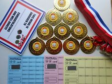 QUIZ WINNER MEDALS SET OF 10 - 50MM METAL WITH RIBBONS AND CERTIFICATES
