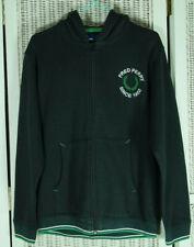 FRED PERRY Teen Boy's Black Zip Hoodie Sweatshirt Youth L 40″ Chest White Green