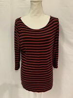 Tahari Womens Size L Red Navy Blue Striped Stretch Blouse Top Shirt