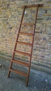 (F)VINTAGE  6 TREAD  LIBRARY / SHOP STYLE LADDER - SHELLAC SEALED & WAXED