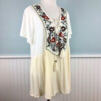 Size 3 (Fits 1X-2X) Maurices Embroidered Boho Peasant Top Shirt Blouse Maurice's