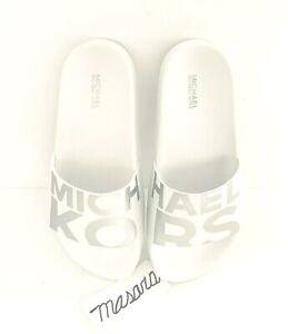 Women Michael Kors MK Gilmore Slide Slip On Sandals PU Optic White/Silver