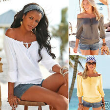 Fashion Women Sexy Off Shoulder Long Sleeve Blouse Casual T Shirt Tops Cotton