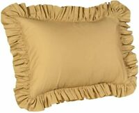"""Harmony Lane Solid Ruffled Pillow Sham Cover Queen Size Pillowcase 20x30"""" Gold"""