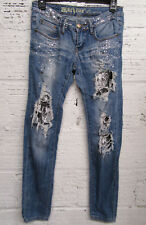 Machine Jeans Cutout Ripped Distressed Destroyed Rhinestones Skinny Jeans Sz 26