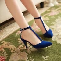 New Party Ladies Pumps T-Strap Buckle Pointed Toe Stiletto Suede High Heel Shoes