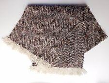 Vintage warm winter scarf brown tweed fringed wool herringbone for men or women