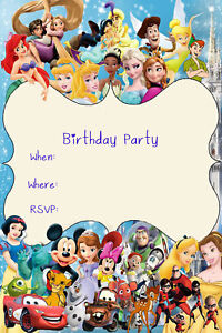 Disney Princess and Characters Birthday Party Invites D4