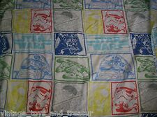 VINTAGE STAR WARS CHARACTERS TWIN FLAT SHEET BLUE YELLOW GREED RED BEDDING CLEAN