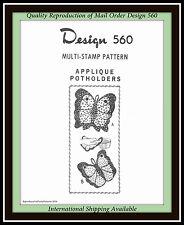 BUTTERFLY POTHOLDERS Applique Mail Order Design 560 Craft VINTAGE Fabric Pattern